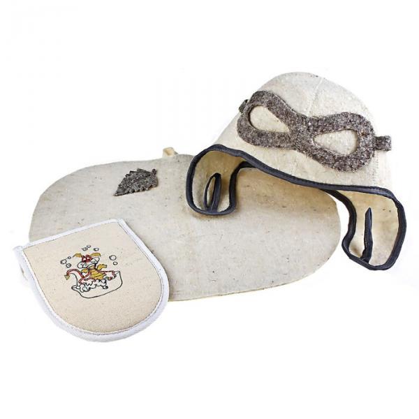 Набор банный с вышивкой «Пилот»: шапка, коврик, мочалка, текстиль, белый