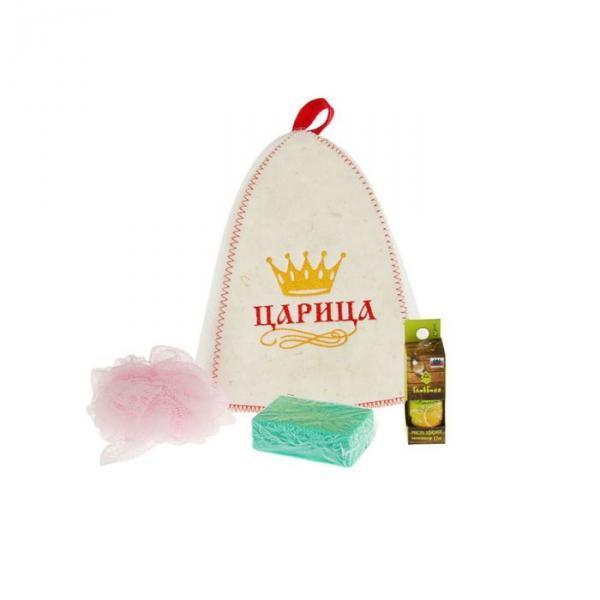 Набор для бани и сауны с вышивкой «Царица»: шапка, мочалка, масло, пемза, микс