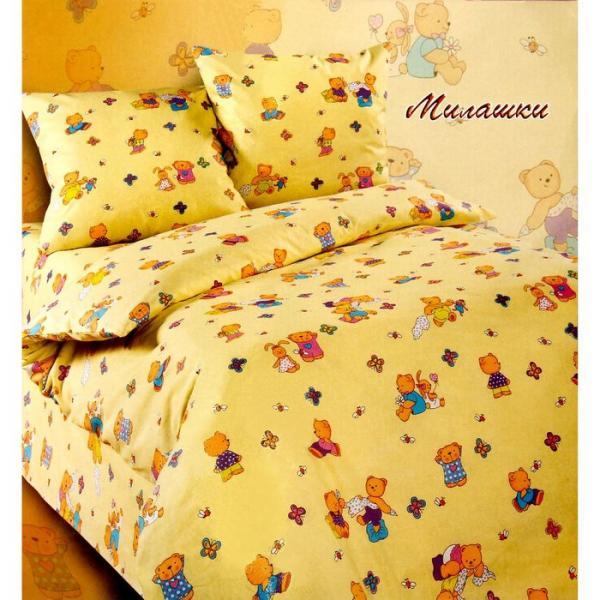 Постельное бельё 1,5 сп. Эталоника «Милашки», цвет жёлтый, размер 150х215 см, 150х215 см, 70х70 см-2 шт.