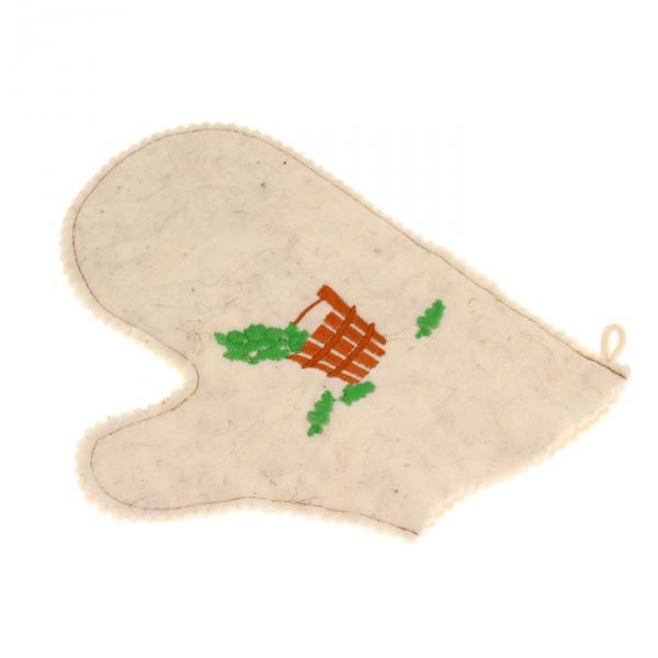 Рукавица для бани и сауны с вышивкой «С лёгким паром», комбинированная