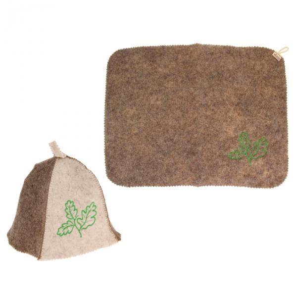 Набор для бани и сауны с вышивкой «Дубовый лист»: шапка, коврик, бело-коричневый