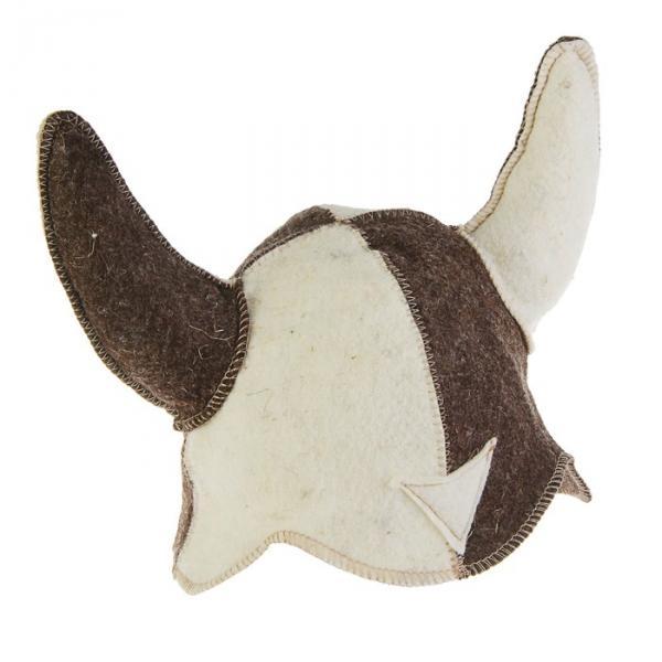 Банная шапка «Шлем викинга», войлок, комбинированная