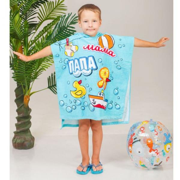 Детское полотенце с капюшоном Чистая семья 60 х 120 см, хлопок 280 гр/м2