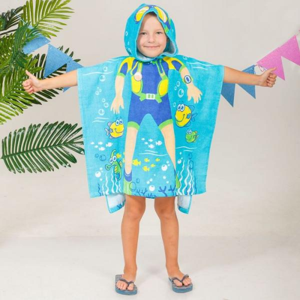 """Детское полотенце с капюшоном """"Collorista"""" Водолаз 60 х 120 см, хлопок 280 гр/м2"""