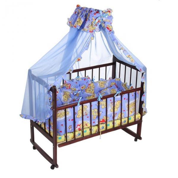 """Комплект в кроватку """"Медвежата"""" (4 предмета), цвет голубой (арт. 1515)"""
