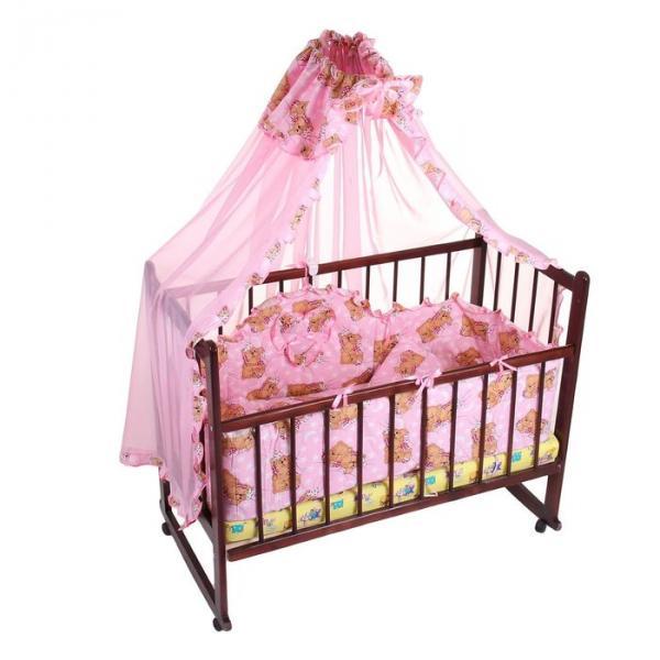 """Комплект в кроватку """"Медвежата"""" (4 предмета), цвет розовый (арт. 1515)"""