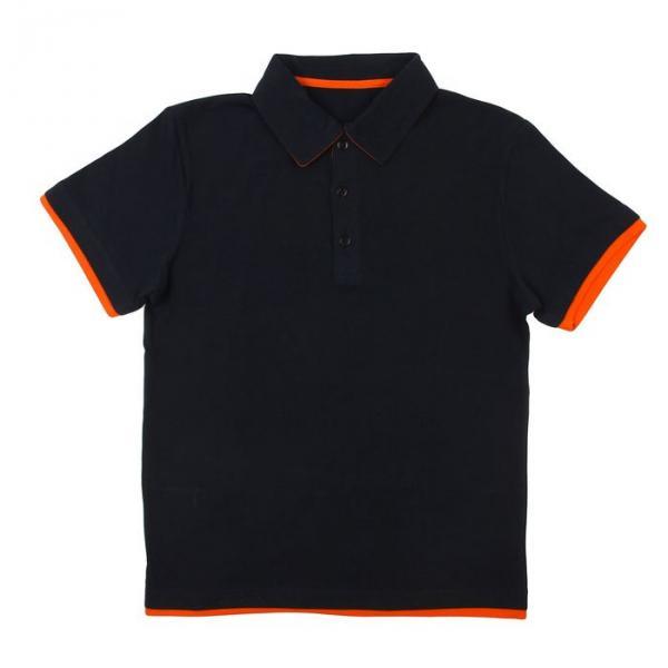 Мужская футболка поло 92% х/б, 8%лайкра, син.-оранж., размер XS