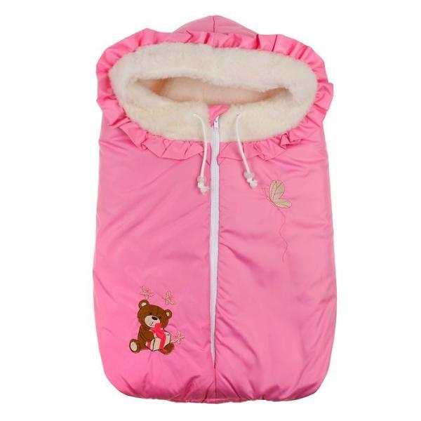 """Конверт зимний """"Любимый мишка"""" меховой, цвет розовый"""