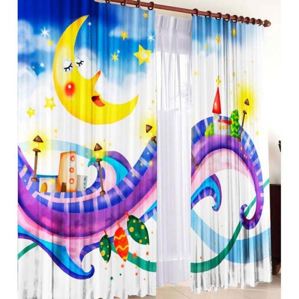 """Комплект штор """"Спокойной ночи"""", ширина 145 см, высота 270 см +/-5 см-2 шт., габардин 150 г/м2"""