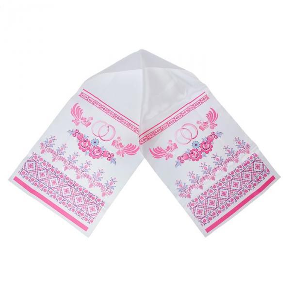 Рушник с орнаментом «Узор», бело-розовый