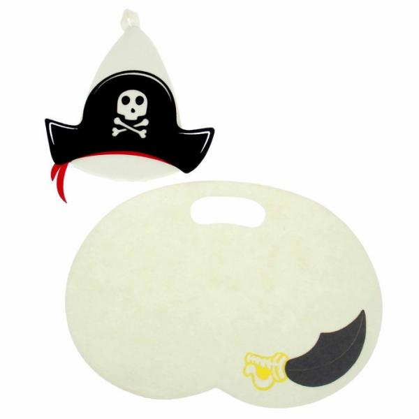"""Набор банный с доп.элементами """"Пират"""", коврик + шапка"""