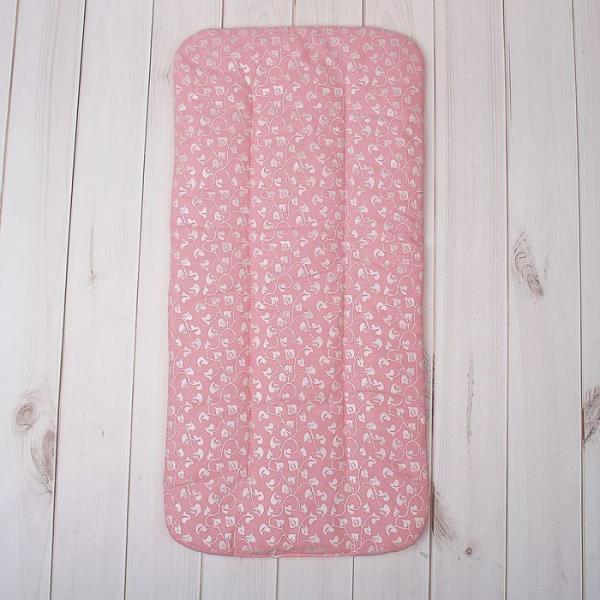 Наматрацник (матрасик) для коляски, размер 70*35 см, цвет розовый 100-10Тн