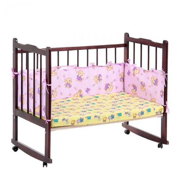 """Бортик с рюшей """"Мишки с мёдом"""", 4 части (2 части: 30х60 см, 2 части: 30х120 см), цвет фиолетовый (арт. 552)"""