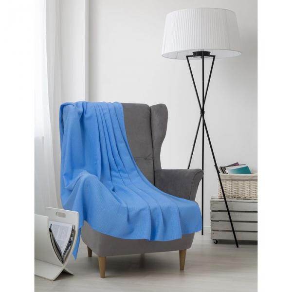 Плед вафельный, размер 200х220 см, 240 гр/м, цвет нежно-голубой