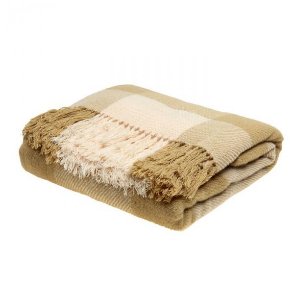 Плед ворсованный, размер 140х200 см, край узелки, 240 гр/м, цвет жемчужный/песочный