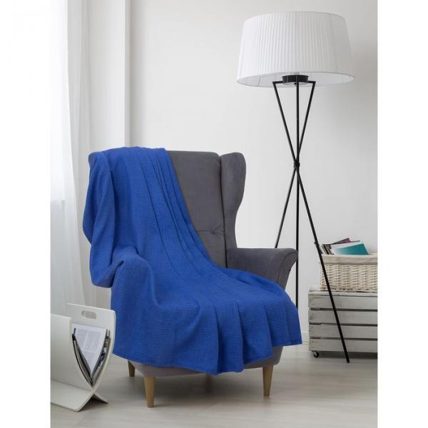 Плед вафельный, размер 150х200 см, 240 гр/м, цвет синий иней