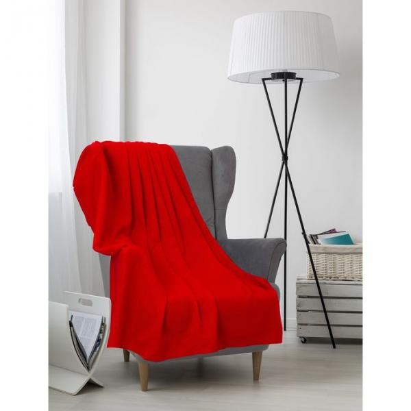 Плед вафельный, размер 170х200 см, 240 гр/м, цвет красный мак