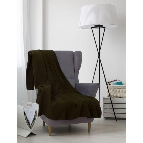 Плед вафельный, размер 170х200 см, 240 гр/м, цвет темно-оливковый
