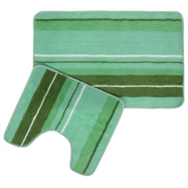 """Набор ковриков для ванной и туалета """"Полоски"""" 2 шт, цвет зеленый"""