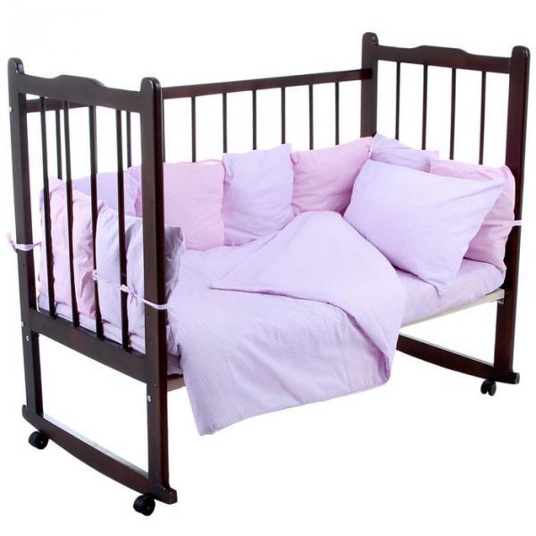 """Комплект в кроватку 4 предмета """"Мозаика"""", цвета сиреневый/розовый (арт. 10407)"""