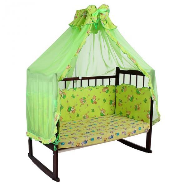 """Комплект в кроватку """"Мишки с мёдом"""" (2 предмета), цвет зелёный с рюшей (арт. 1552)"""