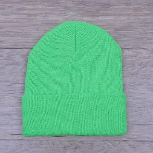 Шапка демисезонная с отворотом, р-р 56, цвет светлый зеленый, акрил 100%