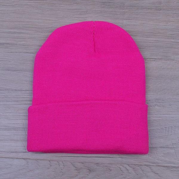 Шапка демисезонная с отворотом, р-р 56, цвет яркий розовый, акрил 100%