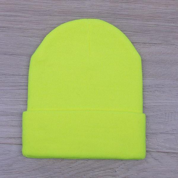 Шапка демисезонная с отворотом, р-р 56, цвет желтый, акрил 100%