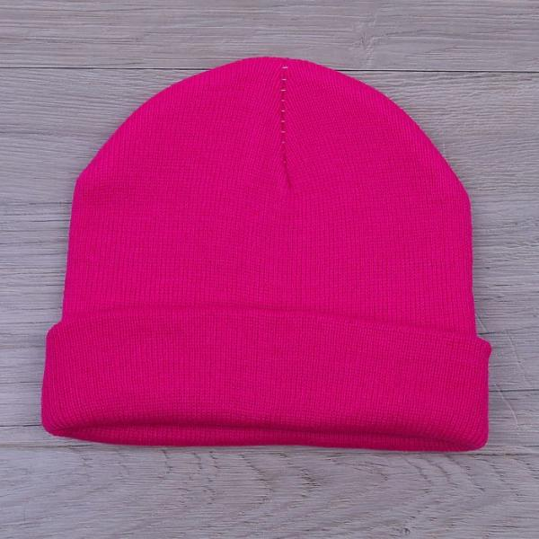 Шапка демисезонная, р-р 56, цвет яркий розовый, акрил 100%