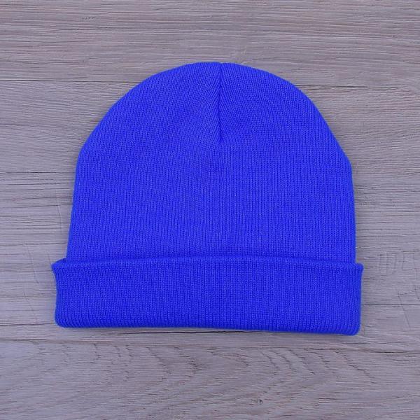 Шапка демисезонная, р-р 56, цвет синий, акрил 100%