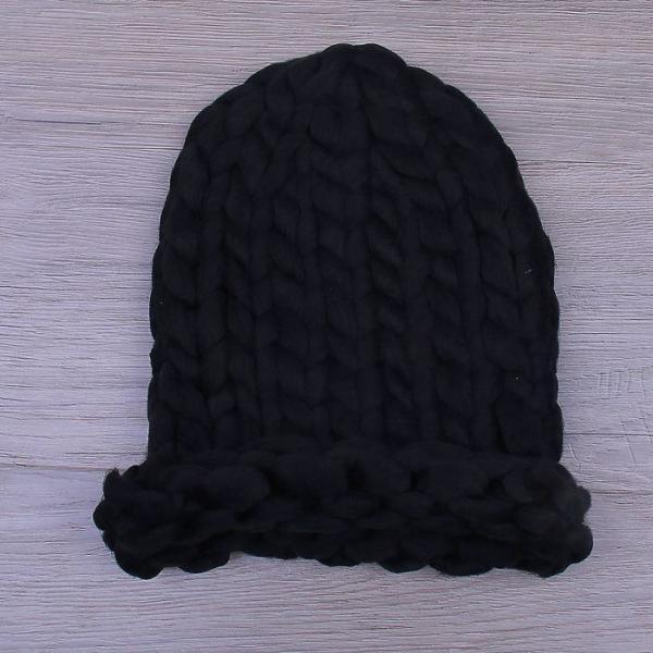 Шапка крупной вязки, черный, акрил 100%