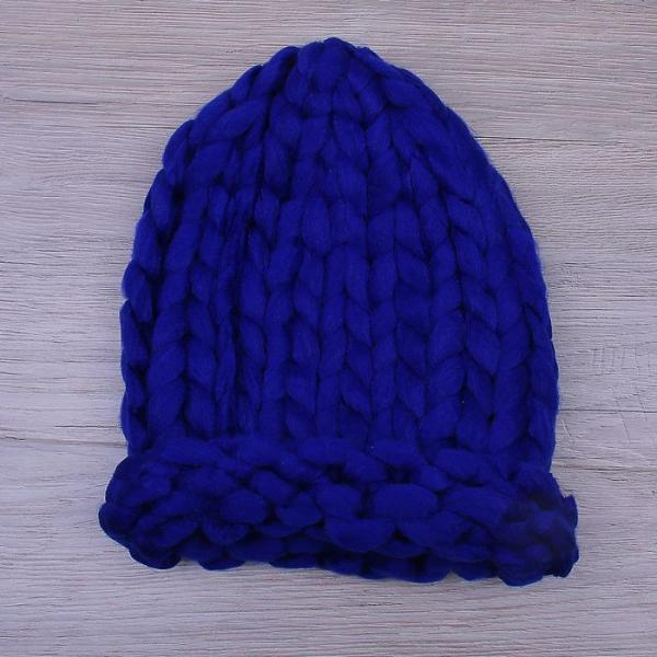 Шапка крупной вязки, синий, акрил 100%