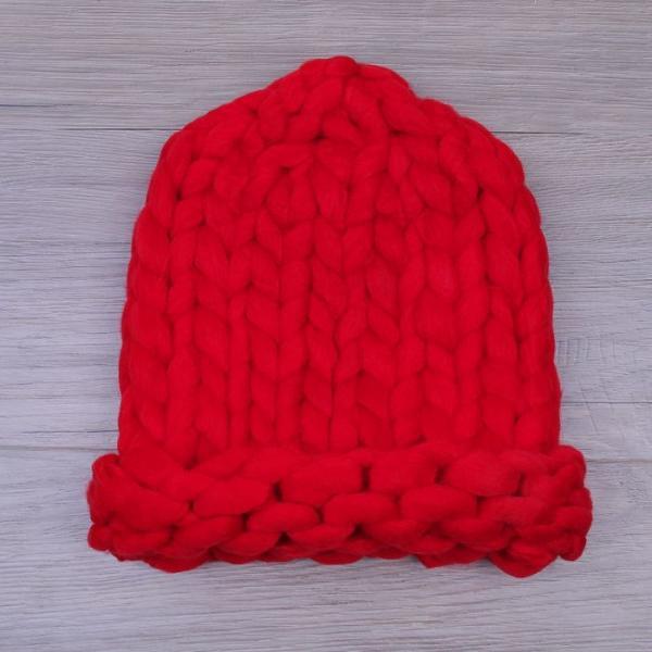Шапка крупной вязки, красный, акрил 100%