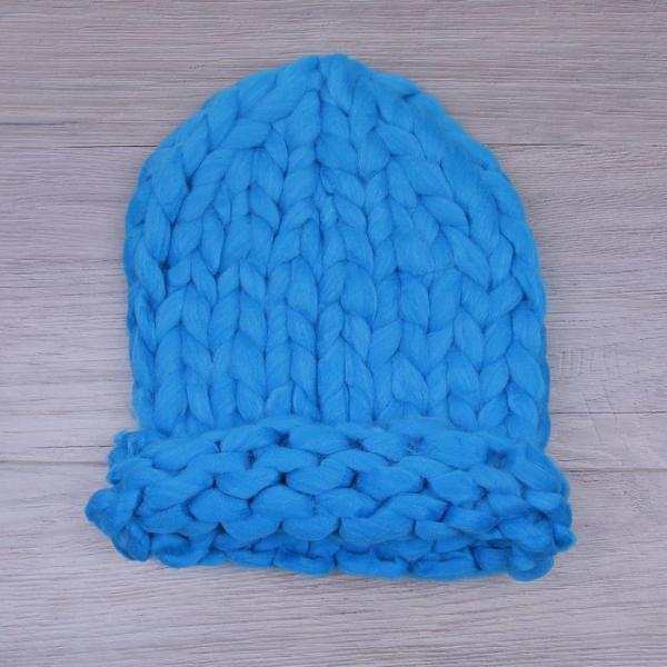 Шапка крупной вязки, голубой, акрил 100%