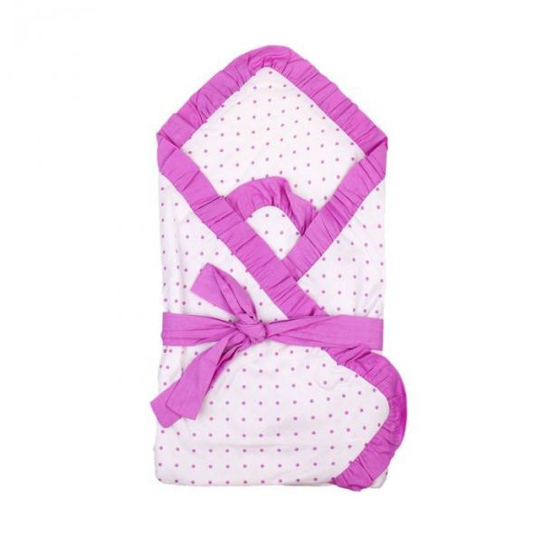 """Одеяло на липучке нарядное """"Эдельвейс"""", размер 80х80 см, цвет розовый, принт горох 11002"""
