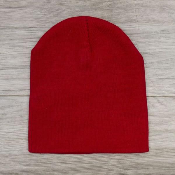 Шапка демисезонная, р-р 56, цвет красный, акрил 100%