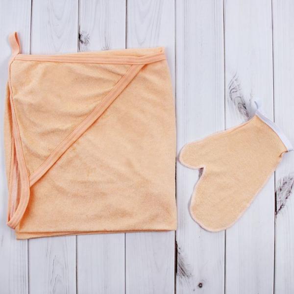 Махровый уголок для купания с рукавицей, размер 100х100 см, цвет МИКС (арт.1208_М)