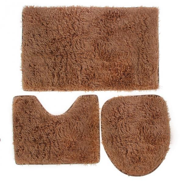 """Набор ковриков для ванной и туалета """"Плюшевый"""" 3 шт, цвет коричневый"""