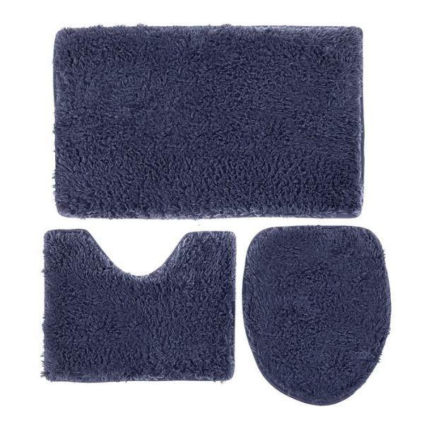"""Набор ковриков для ванной и туалета """"Плюшевый"""" 3 шт, цвет тёмно-синий"""