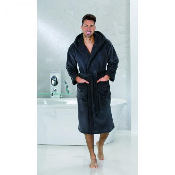 """Халат мужской """"SAMT VELOURS"""", размер 50, цвет чёрный ПГ-08982"""