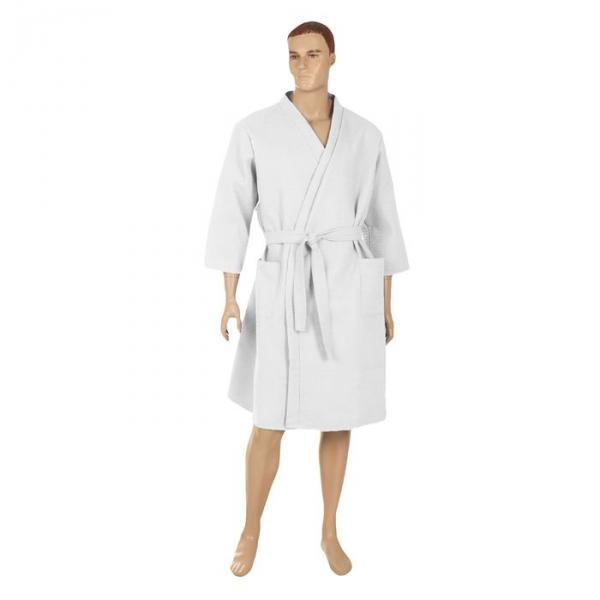 Халат вафельный запашной классический мужской, размер 46, цвет белый, 240 г/м?