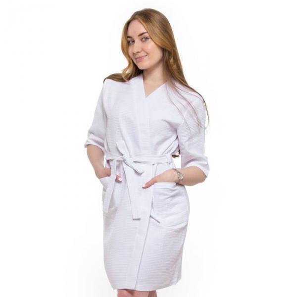 Халат вафельный запашной классический женский, размер 56, рукав 3/4, цвет белый, 240 г/м?