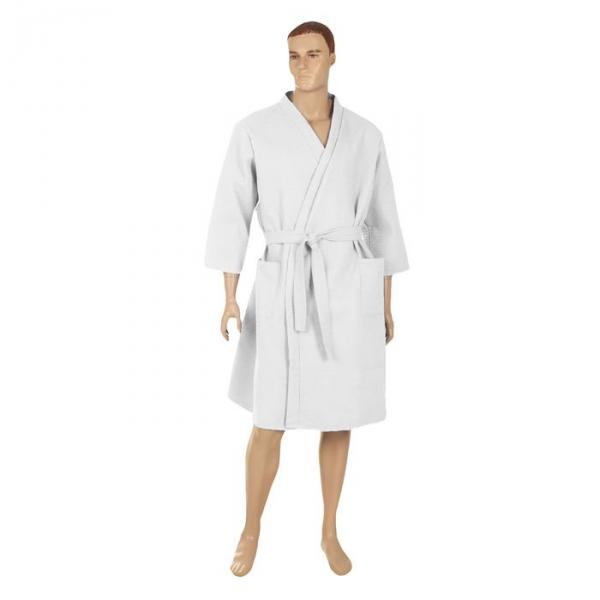 Халат вафельный запашной классический мужской, размер 54, цвет белый, 240 г/м?