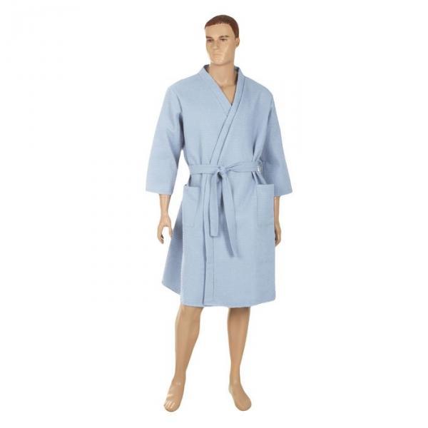 Халат вафельный запашной классический мужской, размер 52, цвет голубой, 240 г/м?