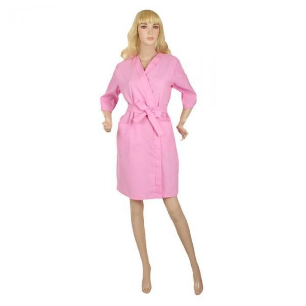 Халат вафельный запашной классический женский, размер 48, рукав 3/4, цвет розовый, 180 г/м?