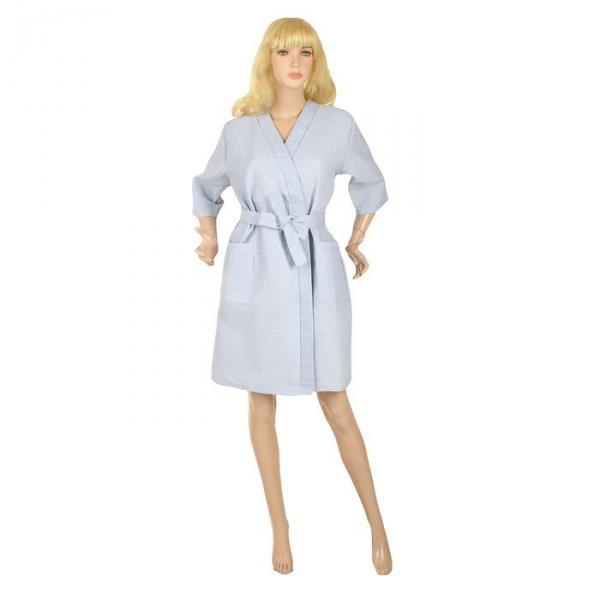 Халат вафельный запашной классический женский, размер 44, рукав 3/4, цвет голубой, 240 г/м?