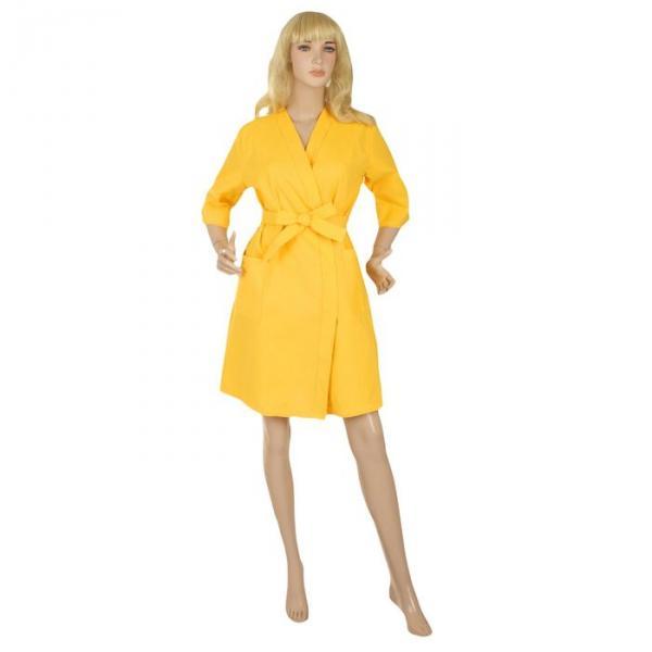 Халат вафельный запашной классический женский, размер 54, рукав 3/4, цвет жёлтый, 180 г/м?