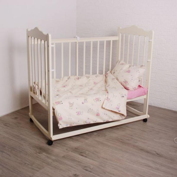 """Комплект постельного белья """"Я гуляю!"""", 120х60 см, 147х112 см, 42х62 см, цвет розовый"""