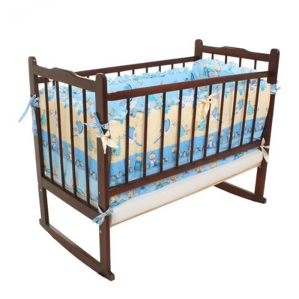 Бампер в кроватку (2 части: 46х55 см, 2 части: 46х130 см), цвет голубой, принт МИКС К-Б3