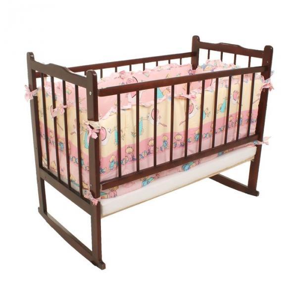 Бампер в кроватку (2 части: 46х55 см, 2 части: 46х130 см), цвет розовый, принт МИКС К-Б3